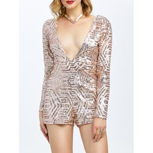 Open Back Plunging Neck Sequined Long Sleeve Romper - Champagne - M