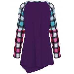Raglan Sleeve Plaid Plus Size Tee - DEEP PURPLE 3XL