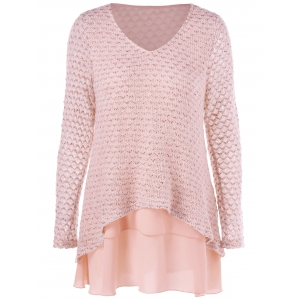 V Neck Layered Long Sleeve Pullover Sweater - Nude Pink - 4xl