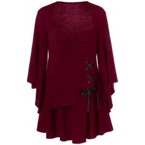 Lace Up Plus Size Peplum Blouse - Deep Red - 2xl