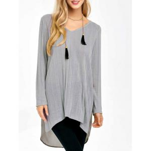 High Low Chiffon Panel Knitwear