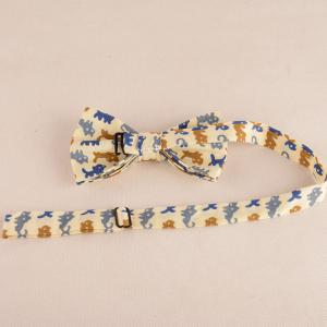 Cartoon Cat Print Tie Bowtie Handkerchief Set -