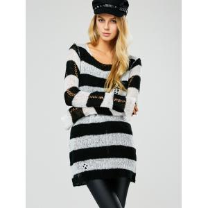 Hollow Out Stripe Crochet Tunic Sweater - BLACK 2XL
