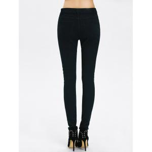 High Rise Ripped Pencil Jeans - BLACK S