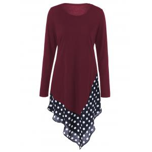 Asymmetrical Polka Dot Long Sleeve Tee - Burgundy - M