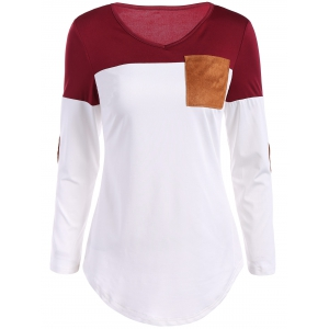 Color Block Elbow Sleeve T Shirt - Burgundy - M