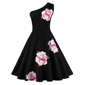 One Shoulder Embroidered Cute Skater Dress - Black - S