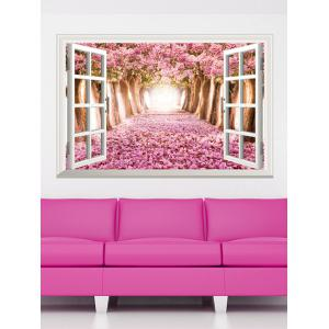 3D Floral Window Design Living Room Removable Wall Stickers - Pink - 60*90cm