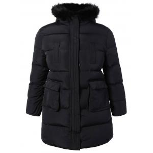 Plus Size Padded Faux Fur Trim Hooded Coat - Black - 2xl