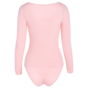 Long Sleeve Spandex Scoop Neck Lace Up Ribbed Bodysuit -