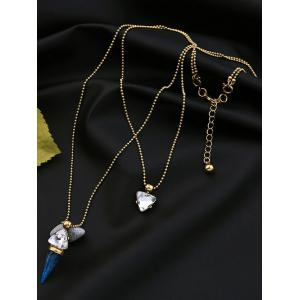 Artificial Gem Triangle Layered Necklace -