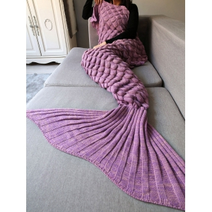 Fish Scale Crochet Knit Warm Long Mermaid Blanket Throw -