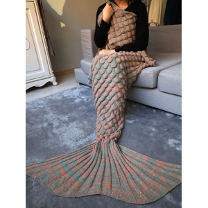 Fish Scale Crochet Knit Warm Long Mermaid Blanket Throw - Light Brown - S