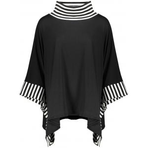 Stripe Trim High Neck Batwing Sleeve Top