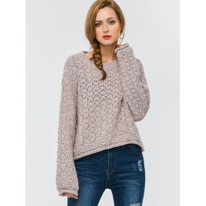 Crew Neck Drop Shoulder Chunky Sweater - Suede Rose - M