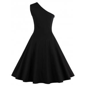 One Shoulder Embroidered Cute Swing Skater Dress - BLACK L