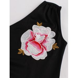 One Shoulder Embroidered Cute Skater Dress - BLACK S