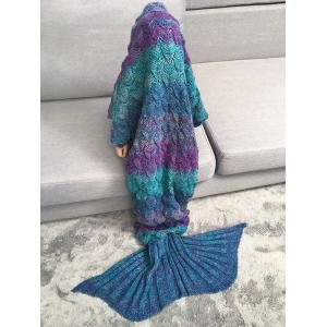 Warmth Knitted Fish Scales Mermaid Blanket For Kids