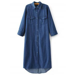 Midi Denim Button Up Casual Shirt Dress - Denim Blue - L