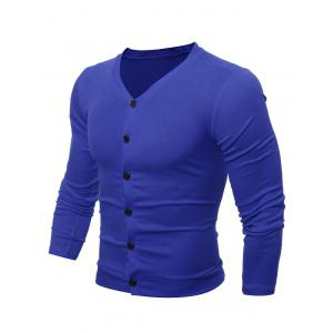 Casual V Neck Button Up Cardigan - Blue - M