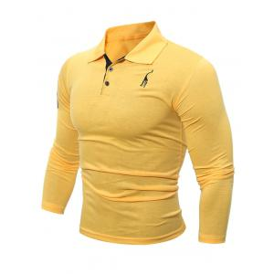 Buttoned Number Patch Long Sleeve T-Shirt - Yellow - M