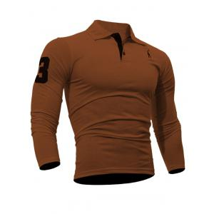 Buttoned Number Patch Long Sleeve T-Shirt
