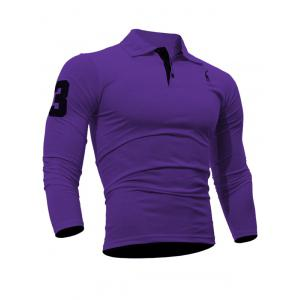 Buttoned Number Patch Long Sleeve T-Shirt - Purple - M