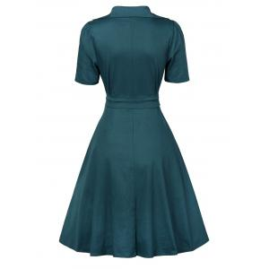 V  Neck Vintage Low Cut Wrap Dress With Short Sleeves - BLACKISH GREEN S