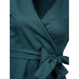 Vintage Plunge Work Wrap Swing A Line Dress - BLACKISH GREEN S