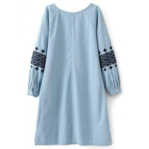 Embroidered Sleeve Denim Tunic Dress -