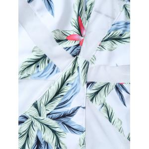 Tropical Print U Neck One-Piece Swimwear - WHITE XL
