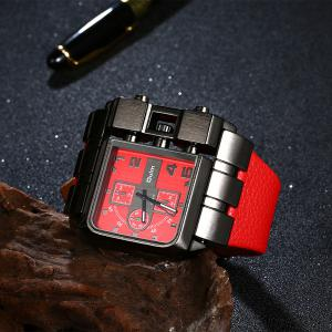 Vintage Artificial Leather Watchband Quartz Watch - RED