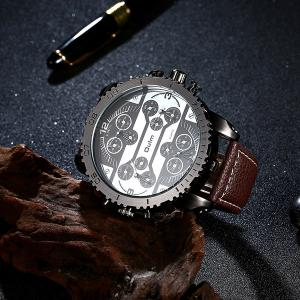 Big Dial Plate PU Leather Watch - COFFEE