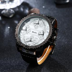Big Dial Plate PU Leather Watch - WHITE