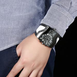 Vintage PU Leather Wrist Watch - WHITE AND BLACK