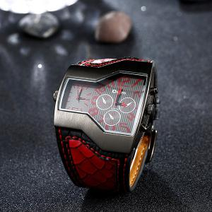 Vintage PU Leather Wrist Watch - RED