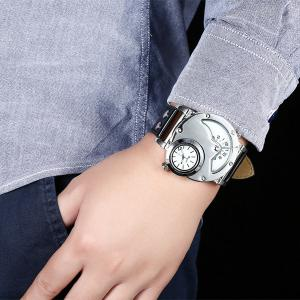 PU Leather Wrist Quartz Watch - WHITE