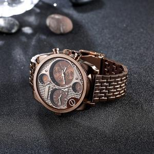 Steel Watchband Vintage Quartz Watch - RED BRONZED