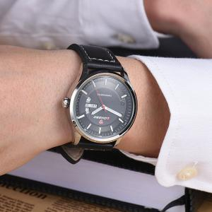 Waterproof Faux Leather Analog Date Watch - WHITE