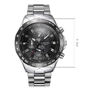 Waterproof Tachymeter Metal Quartz Watch - BLACK