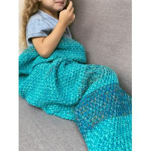 Doux Color Block Tricoté Sleeping Bag Blanket Wrap Mermaid - Turquoise