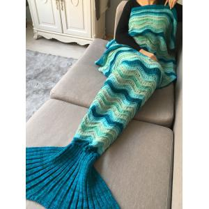 Hollow Out Wave Striped Crochet Knit Warm Mermaid Blanket Throw -