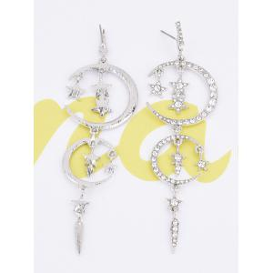 Rhinestoned Stars Moon Drop Earrings -