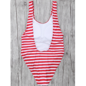Striped High Leg Swimsuit - RED/WHITE L
