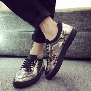 Stretch Fabric Patent Leather Casual Shoes -