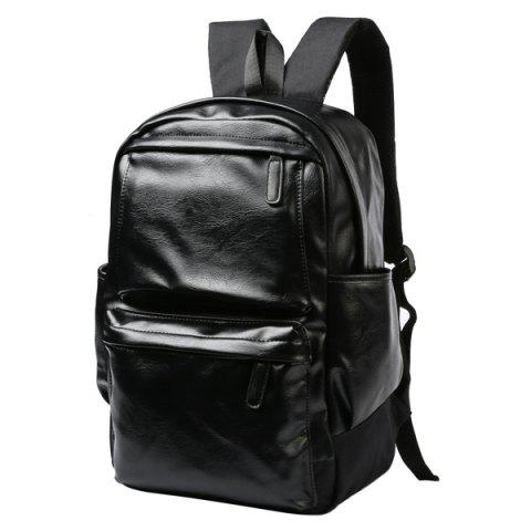 Discount Casual Black and Zipper Design Backpack For Men - BLACK  Mobile