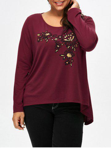 Shop Scoop Neck Floral Plus Size Tee CLARET 4XL