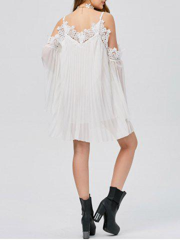 Fancy Long Sleeve Pleated Cold Shoulder Cocktail Dress WHITE S