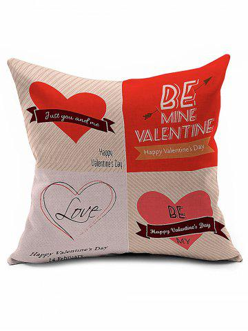 Fancy Valentine Love Heart Linen Sofa Bed Throw Pillowcase
