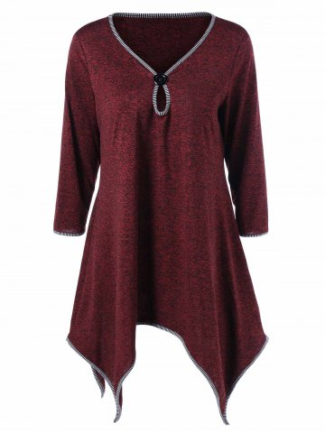 Plus Size Striped Hem Asymmetric Tunic T-Shirt - Deep Red - 5xl